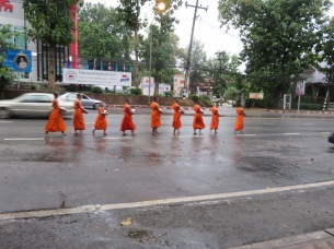 Monks going out in the morning